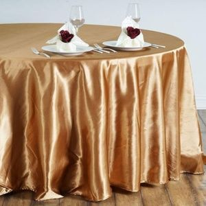 """Fancy Round Satin 108"""" Gold Tablecloth"""